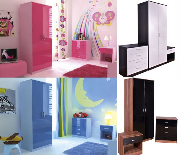 High Gloss Bedroom Furniture Sets Boys Girls Pink Blue White Black & Walnut