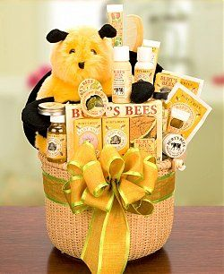 """For the """"Mommy to Bee."""" Love this theme as a baby shower. Bee hive cake, little bee cupcake toppers, dipped pretzels and strawberries looking like bee stripes and pure organic honey as party favors. So cute."""