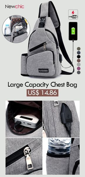 8b845c58c97a Large Capacity Casual Outdoor Travel USB Charging Port Sling Bag Chest Bag  Crossbody Bag  bags  outdoor  menswear