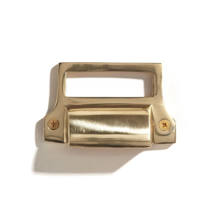 Classic Brass Bin Pull with Label Holder and