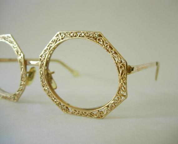 Tura Octagon Oval Oversized Eyeglass Frames Gold Filled Filigree Groovy Mod Retro Larger Fit Possibly Display Model Designer High End 1960s – Products