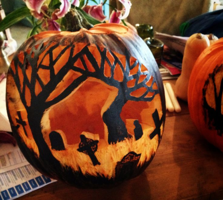 Graveyard pumpkin carving halloween pinterest