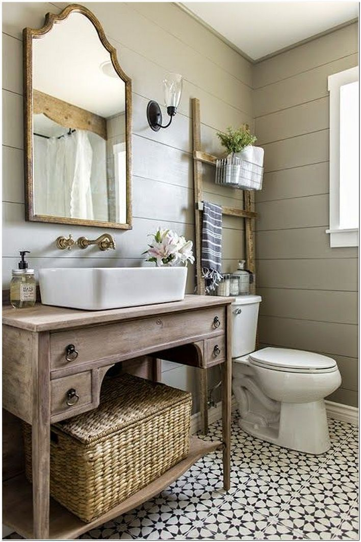 85 Most Popular Small Bathroom Designs On A Budget Homeexalt In 2020 Guest Bathroom Small Shabby Chic Bathroom Vanity Small Farmhouse Bathroom