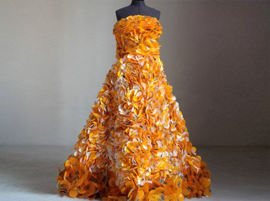 Gown by designer Christina Liedtke; more than 1,800 flowers made from 600 Peanut M&M wrappers
