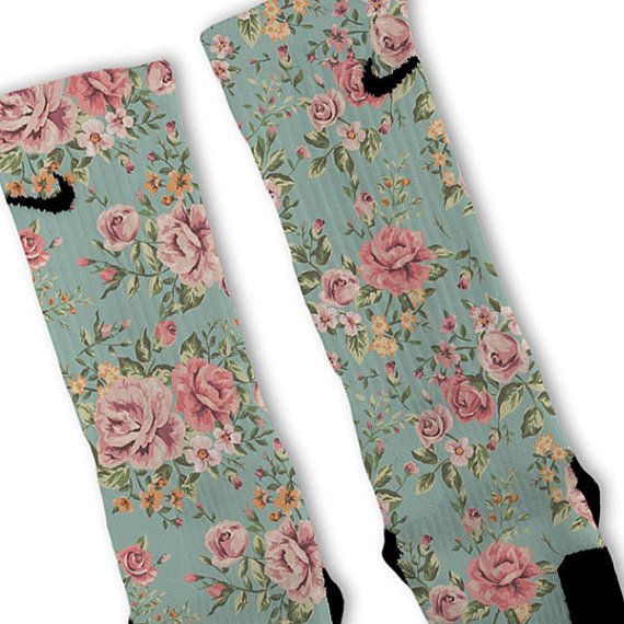 Floral Blue Customized Nike Elite Socks by FreshElites on Etsy