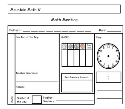 Math Meeting Template for smartboard