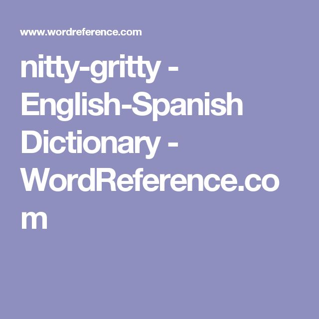 nitty-gritty - English-Spanish Dictionary - WordReference.com