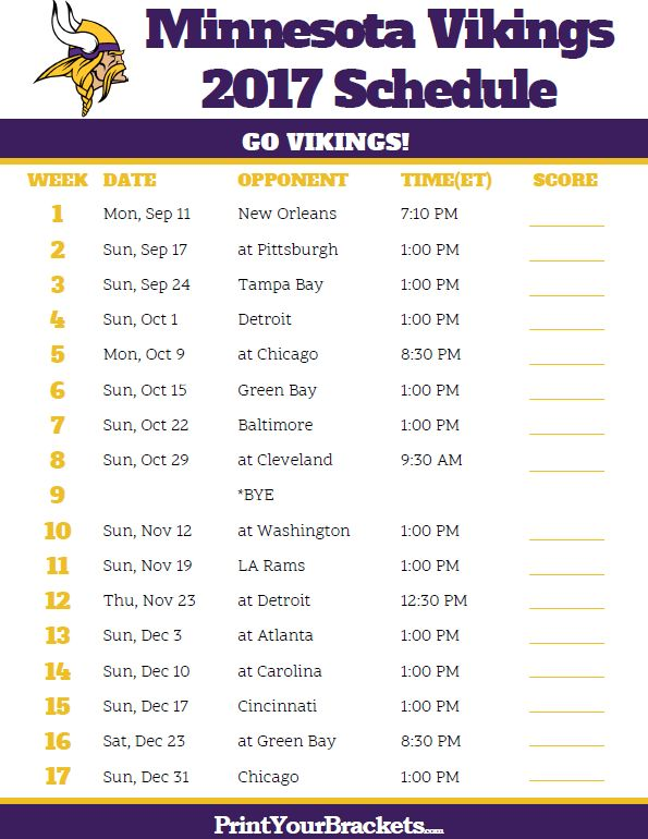 2017 Minnesota Vikings Football Schedule