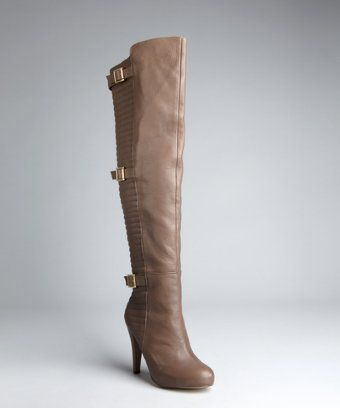 Matiko cement leather ribbed and buckled 'Cadie' over-the-knee boots