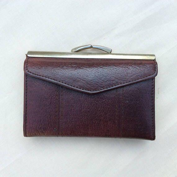Vintage ladies leather wallet purse  brown wallet brown