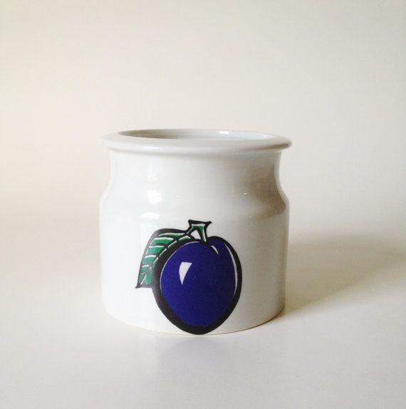 "Arabia Finland ""Pomona"" Plum Jam Pot"