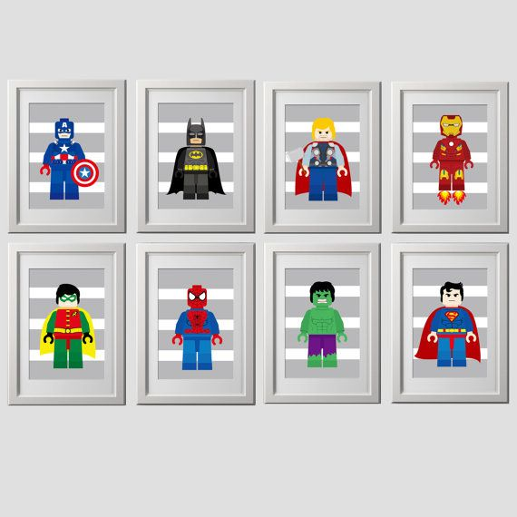 superhero wall art prints superhero set of 8 by AmysSimpleDesigns