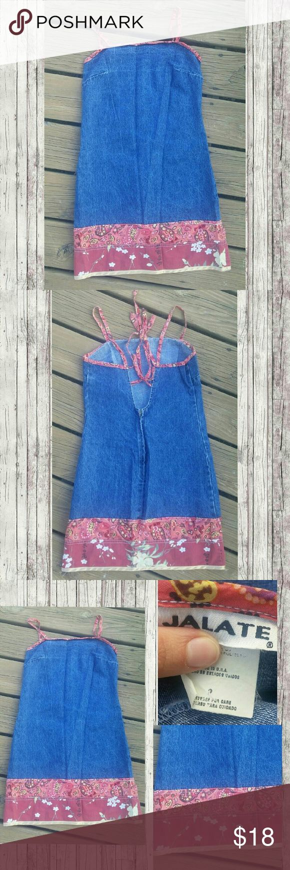 Vintage Denim Dress Cute Open Back denim Dress ties & Zips up back zipper works fine.  Excellent Vintage Condition Cotton/polyester Material  Size 3 Measures Laying Flat - Length 27.5'  across Chest 14.5'  Have any questions feel free to ask   Ships Same/Next day Mon-Fri  No trades  Bundle 2 items & Save 10% Vintage Dresses