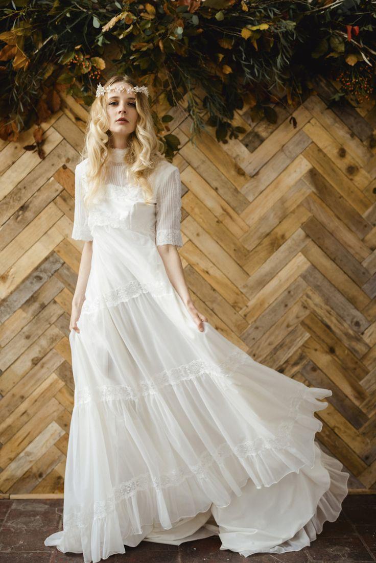 1970s victoriana lace tiered wedding dress - bohemian alternative bridal ireland