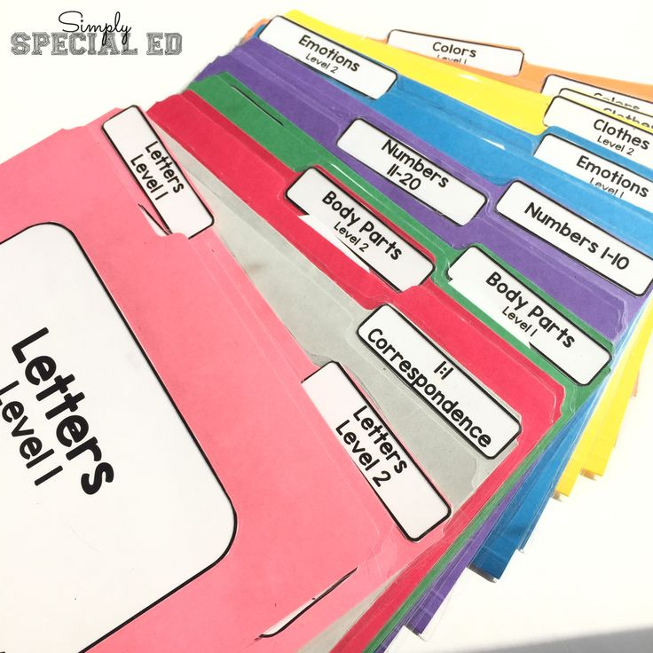 Basic skills file folders! I use these with preschool and special education students, very simple and easy to put together and use right away!