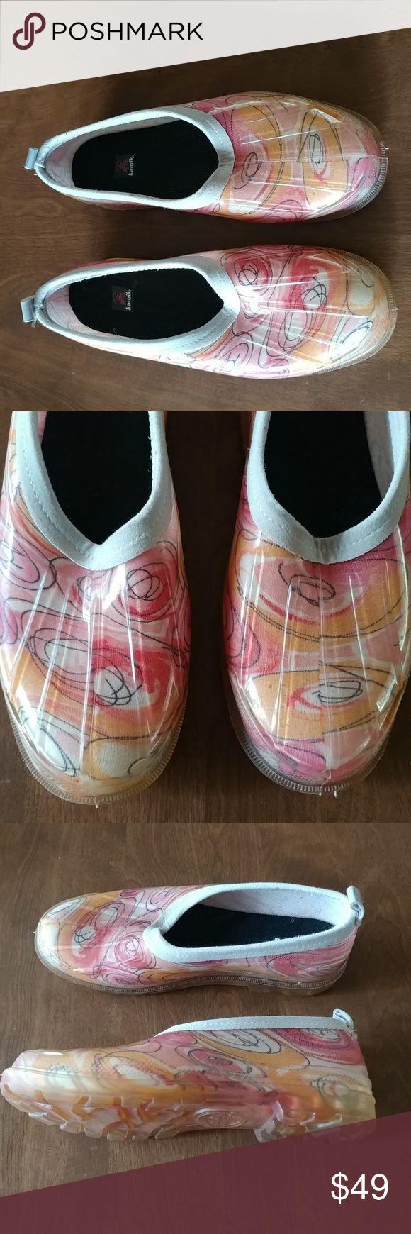 KAMIK Womens Jelly Rain Shoes Size 7 Semi Transparent Waterproof Geometric Print Rubber Top Sider KAMIK Shoes Winter & Rain Boots