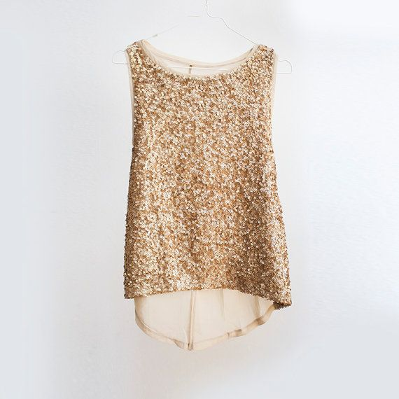 Sequin wedding top Gold sheer chiffon blouse by TigerlillyVintage
