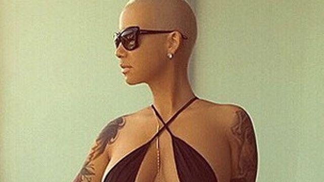 Amber Rose is wearing a revealing bikini.