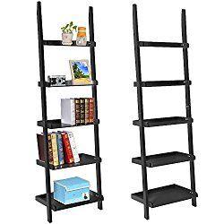 70 Inch 5 Tier Wood Leaning Ladder Shelf Bookcase Bookshelf Storage Shelves Unit Black