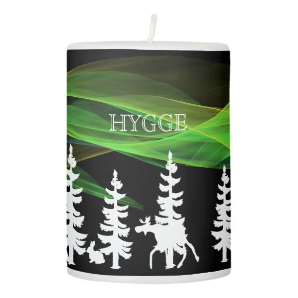 Hygge forest in black white and northern lights pillar candle