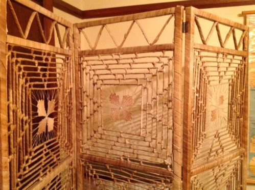 Retro-Vintage-Folding-3-Panel-CANE-WICKER-RATTAN-SCREEN-ROOM-DIVIDER-Tiki-Bar