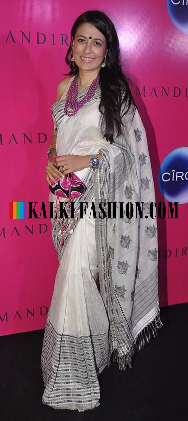 http://www.kalkifashion.com/    Mini Mathur in an off white saree with fish weave at Mandira Bedi's new saree store launch.