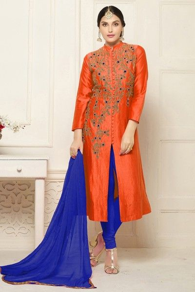 Buy designer orange indo western & salwar suits online shopping with lowest prices in india. #thankaronline #salwarsuit #designersalwarsuit #designerindowestern #fashion #fashionableindowestern #festival #dress