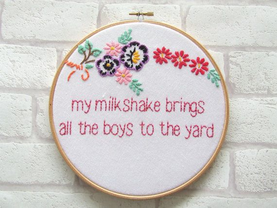 Kelis 'Milkshake' Hand Embroidered Hoop Art. Wall Art. Wall Decor. Hoop Art. Hip Hop. Lyrics on Etsy, $49.07