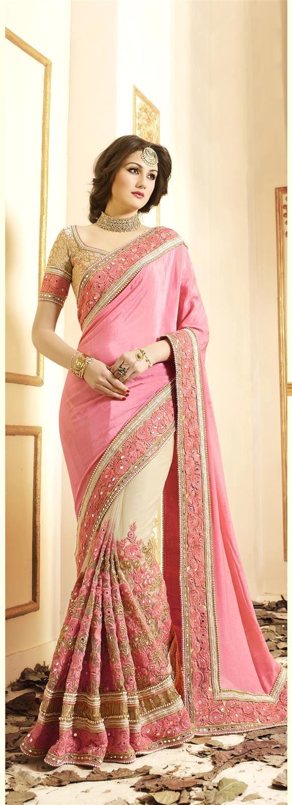 Astounding Georgette Pink Designer Saree