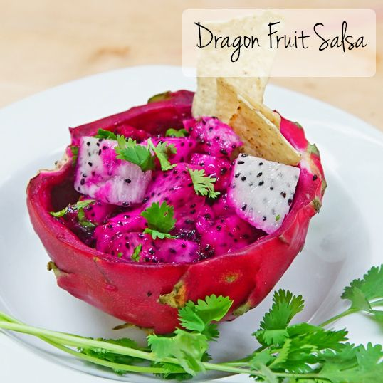 Dragon Fruit Salsa Ingredients 1 to 2 Frieda's Dragon Fruit (white, red, or both), peeled and cubed (about 1 cup) 1 green onion, chopped 1 tablespoon chopped fresh Cilantro 1 tablespoon lime juice ...