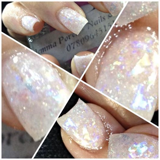 Bag 50ml of Iridescent Opal Mylar Ice Glitter Large flakes like snow Nail