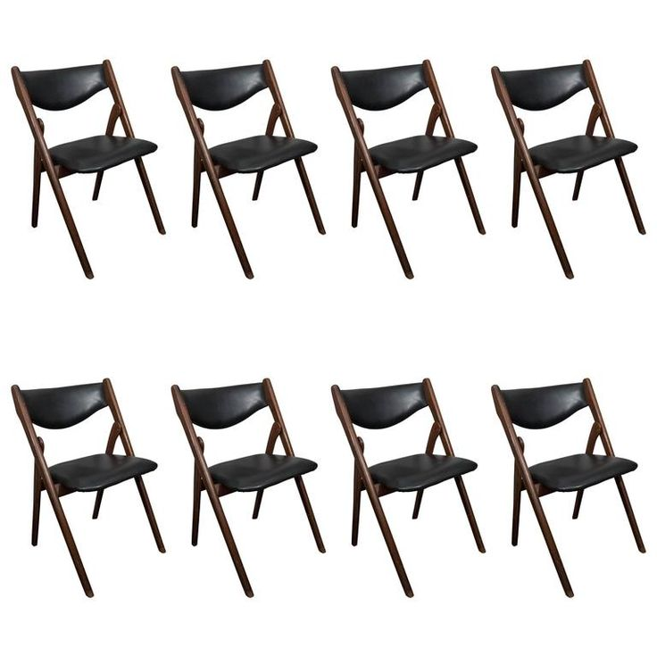 Set Of Eight Vintage Mid Century Folding Dining Chairs