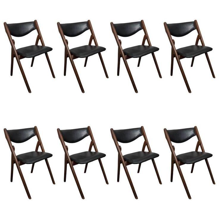 Set of Eight Vintage Mid-Century Folding Dining Chairs | 1stdibs.com