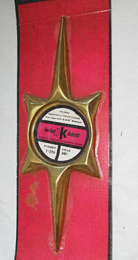 Mid Century STARBURST Vintage Door Plate Escutcheon Star New old Stock in Pack #Kwikset