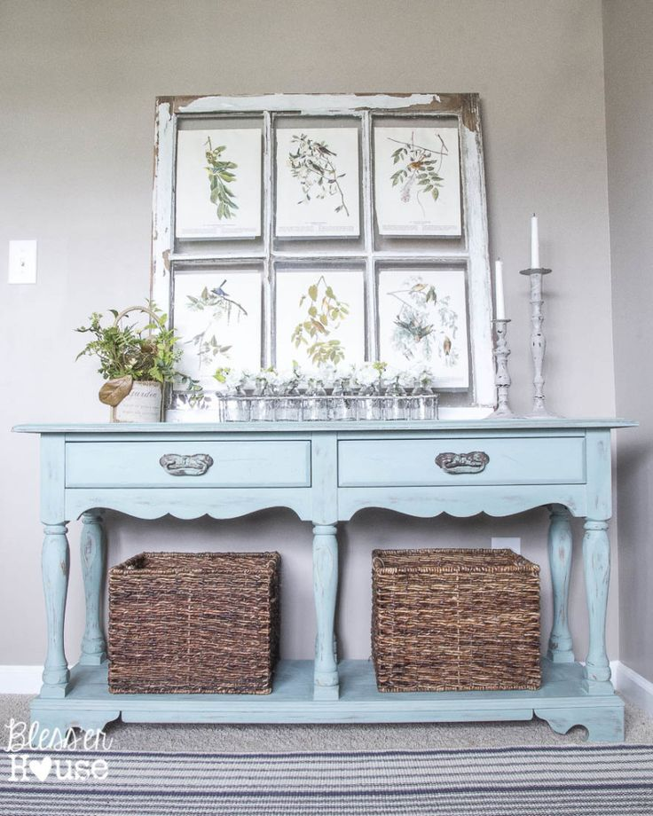beachy french console table makeover