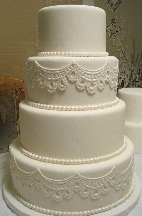 Four Tier Fondant Wedding Cake artificial by SUGARonTOPsugarart, $160.00