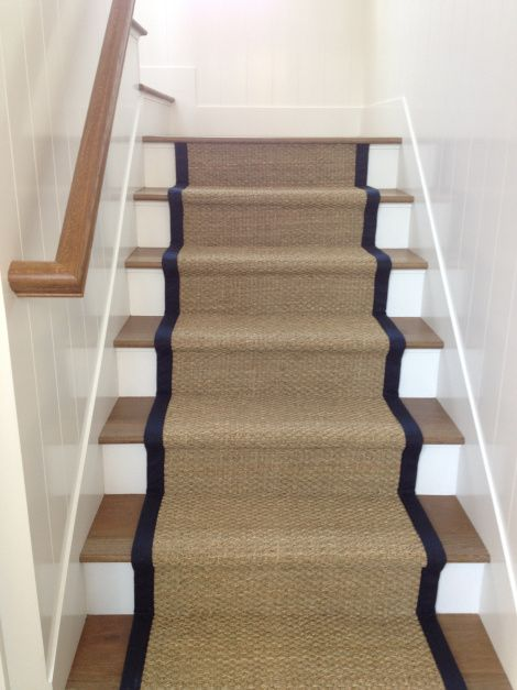 Nice Seagrass Stair Runner With Microfiber Binding