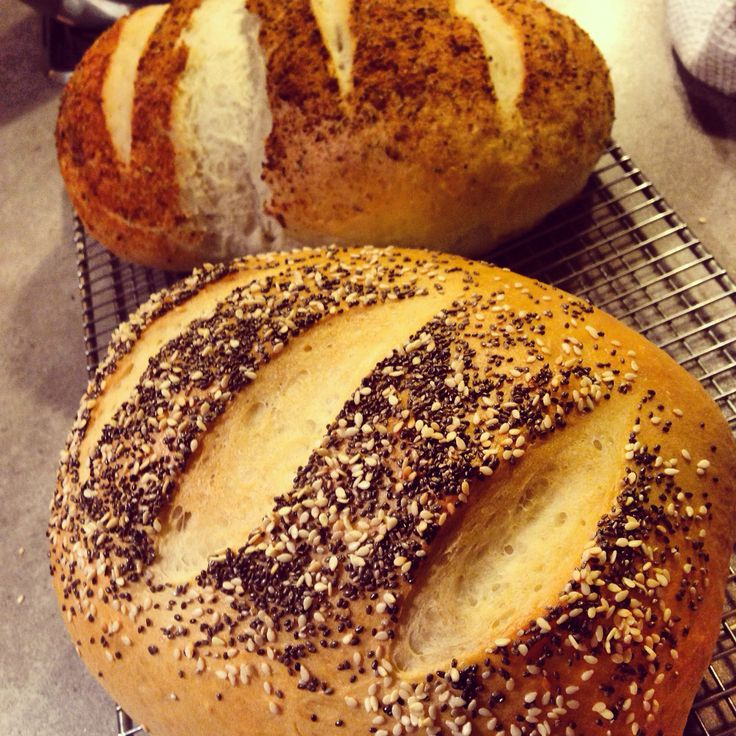 Parmesan and herb & chia and sesame Italian loaves