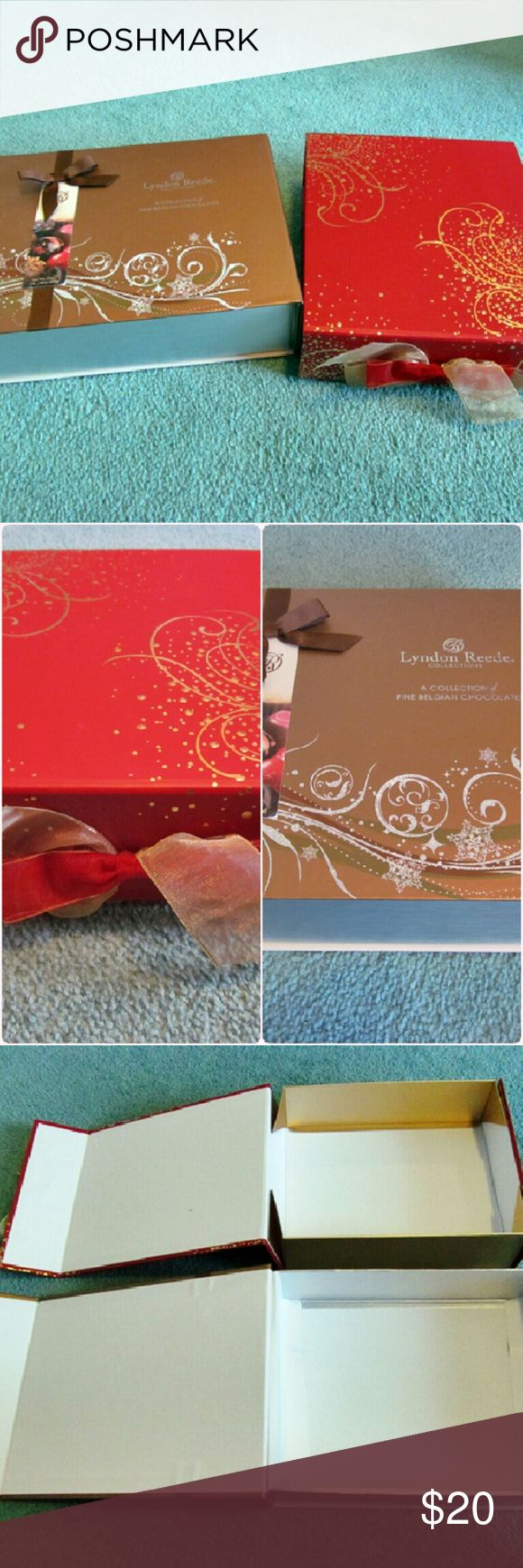 """Lyndon Reede & Gudrun Chocolate Holiday Boxes Thick board boxes. They both have magnetic closures. The red box has a bow on front. Both have glitter on top.  Red box measures approx. 9.75x8.5in Brown box measures approx. 10.75x8.5 in Both have approx. Depth of 2.5"""" Used to hold holiday chocolate sets but can be used to store knick knacks, Jewelry, gift wrapping, etc. Listing is for both boxes. Other"""