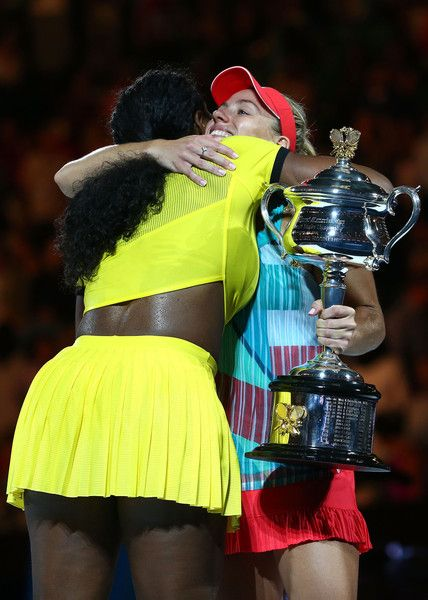 Serena Williams and Angelique Kerber Photos Photos - Angelique Kerber of Germany is congratulated by Serena Williams of the United States after winning the Women's Singles Final on day 13 of the 2016 Australian Open at Melbourne Park on January 30, 2016 in Melbourne, Australia. - 2016 Australian Open - Day 13