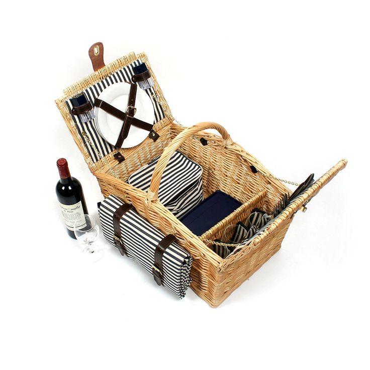Greenfield Collection (HP003) Deluxe Somerley Picknickkorb für 4 Personen mit passender Decke, Weide, gestreiftes Futter: Mitternachtsblau - Weiß gestreift: Amazon.de: Garten