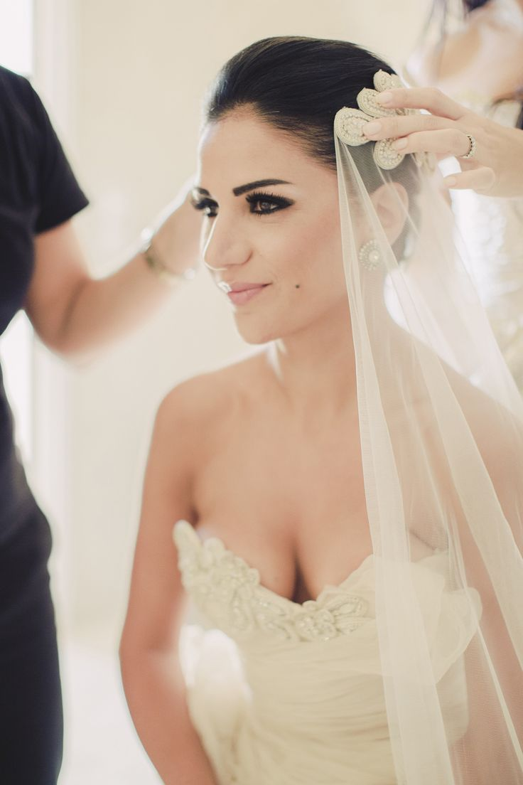 Dramatic Bridal Makeup | Anna Roussos, Santorini, Greece | TheKnot.com
