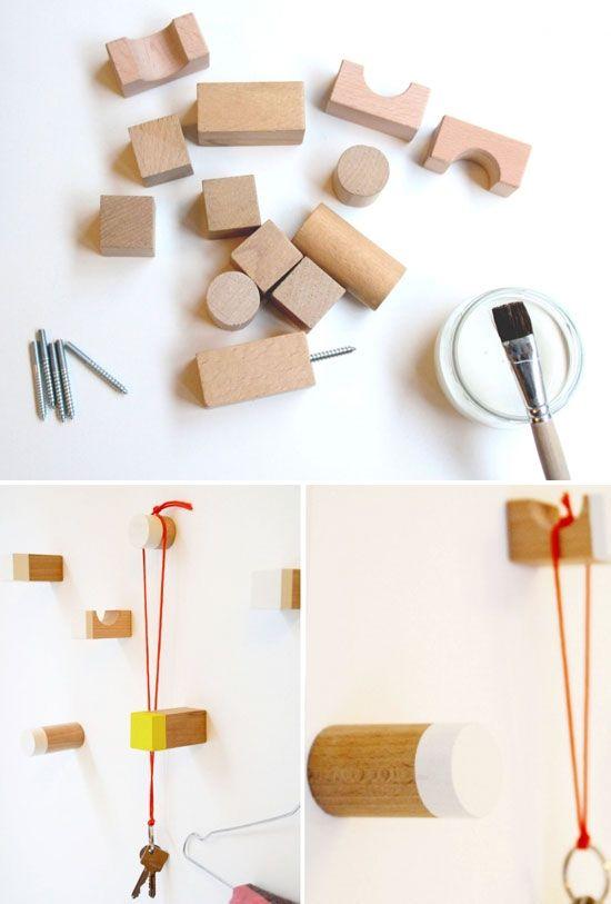 diy: wooden toy blocks as hooks