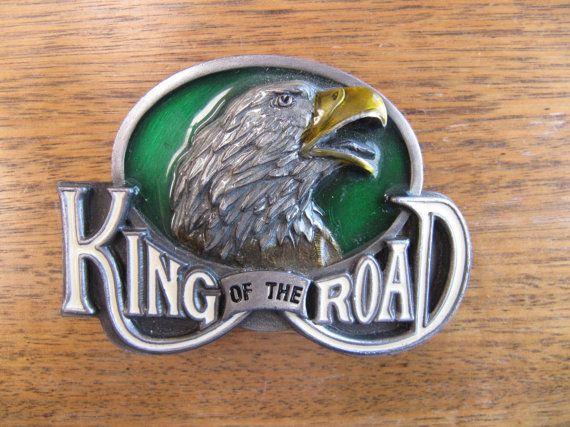 Vintage Eagle Pewter Belt Buckle King Of The Road by BygoneAllure