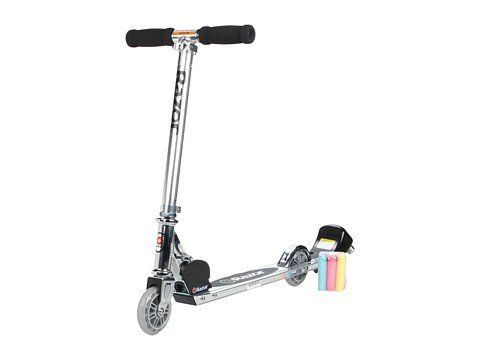 Razor Graffiti Chalk Scooter - Clear by Razor. $40.02. Razor Graffiti Chalk Scooter  Time for some colorful fun! Razor Graffiti Chalk Scooter allows kids to draw colorful lines and fun designs as they ride. The special chalk holder can hold chalks that allow kids to leave their mark as they ride. With an adjustable folding handlebar, this scooter is easy for kids to ride. Features 98mm smooth-rolling urethane wheels  Easy to clean  Rear fender brake  Adjustable fol...