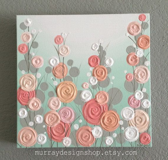 Nursery Wall Art, Mint, Coral, and Peach Textured Flowers, Select Your size, Customized to Order