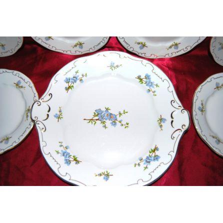 Zsolnay blue floral cake set