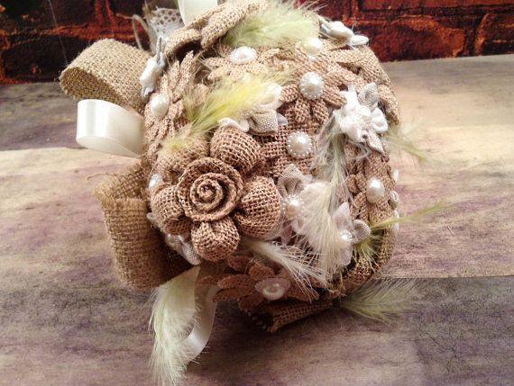 Bruids boeket-rustieke boeket-Wedding Bouquet jute door LenaWeddings