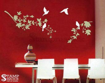 Árbol de ramas pared calcomanía etiqueta para guardería, sala de niños o casa. Etiqueta de la pared arte cuenta con pájaros y ramas. Ideal para