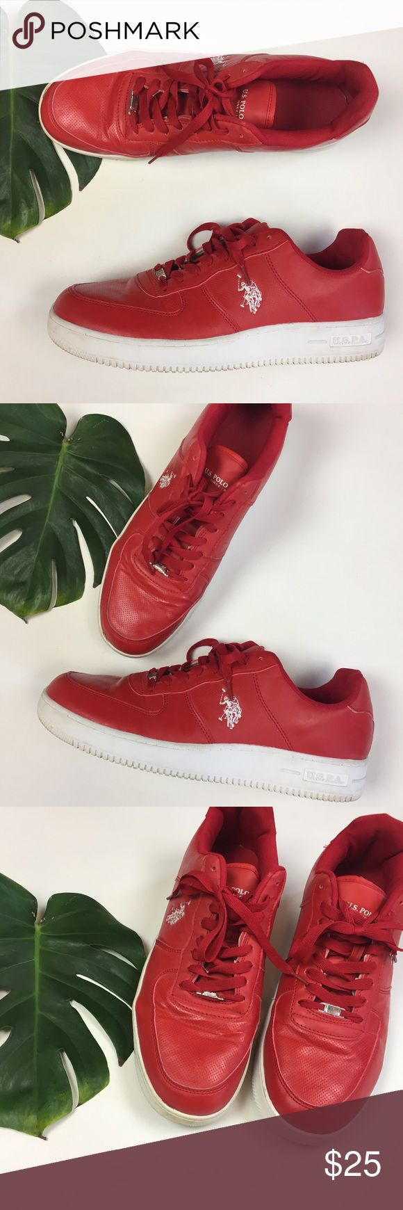 U.S. Polo Assn. 🏇🏼 mens sz 13 red synth leather U.S. Polo Assn. 🏇🏼 mens size 13 red synthetic leather, very good used condition. urban streetwear cool dope shoes U.S. Polo Assn. Shoes Sneakers